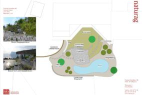 Grundriss CAD-Plan - Teich mit Maggia-Gneiselemente