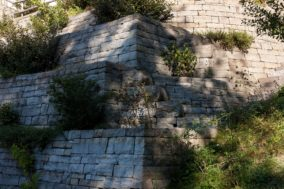 Sandstein Trockensteinmauer